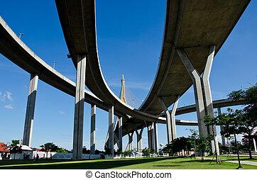 curva, bridge., suspensión
