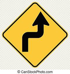 Curvas a la derecha señal de tráfico en el fondo transparente