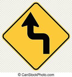Curvas delante izquierda señal de tráfico en el fondo transparente