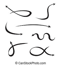 curvo, conjunto, flechas, negro