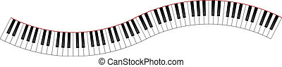 curvo, teclado del piano