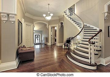 curvo, vestíbulo, escalera