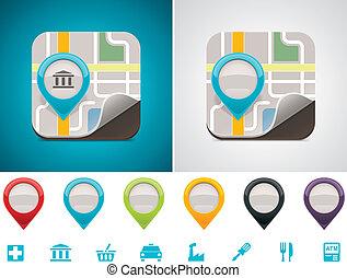 customizable, mapa, ubicación, icono