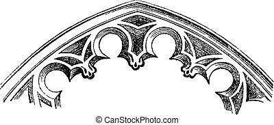 cut-to-date, fr, vendimia, -, arcos, (xv, intrados, century), engraving.