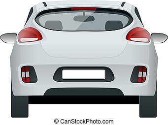 cuv, coche, fondo., vector, plantilla, coche., isolated., vista, trasero, compacto, blanco, estación, paso, 5-door, vagón