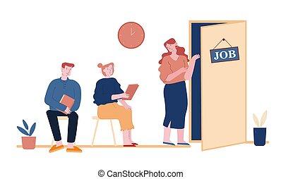 cv, entrevista de trabajo, pasillo, ilustración, documentos, solicitantes, vector, arte, buscando, reclutamiento, oficina, sentado, gente, esperar, caricatura, línea, job., plano, mujer hombre, concept., desempleado, cita