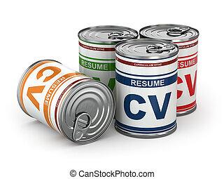 CV puede, imagen Conceptual de curriculum.