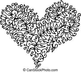 cxxxv, corazón, romántico, viñeta
