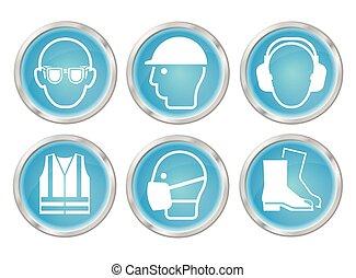Cyan salud y iconos de seguridad