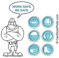 Cyan salud y iconos de seguridad y bu
