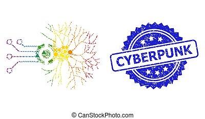 cyberpunk, neural, geométrico, precinto de goma, arco irirs, digital, conexión, estampilla, mosaico
