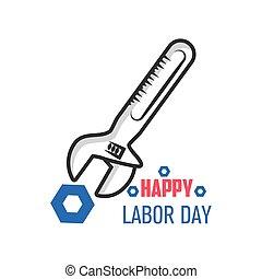 día, celebración, trabajo, feliz, llave inglesa