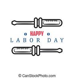 día, celebración, trabajo, herramienta, destornillador, feliz
