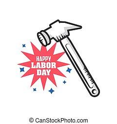 día, celebración, trabajo, herramienta, feliz, martillo