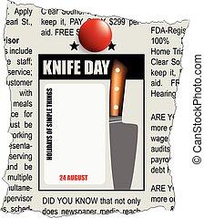 día, cuchillo, classifieds, periódico