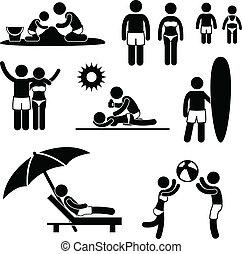 día de fiesta de verano, playa, familia , ocio