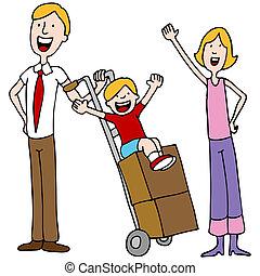 Día de mudanza de familia