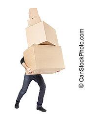 Día de mudanza, hombre con caja de cartón