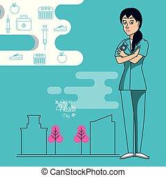 Día de salud mundial con cirujana femenina y iconos establecidos