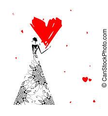 Día de San Valentín. Chica con gran corazón rojo