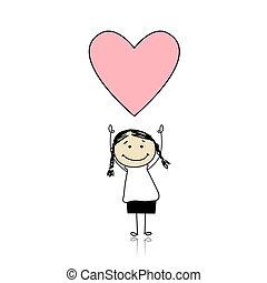 Día de San Valentín - chica linda sosteniendo el corazón