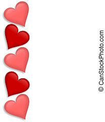 Día de San Valentín, corazones fronterizos 3D