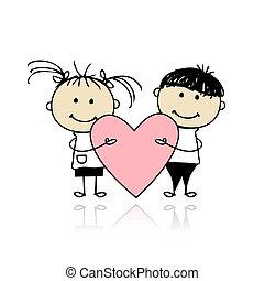 Día de San Valentín. Niños con gran corazón rojo para tu diseño