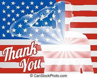 Día de veteranos gracias bandera americana