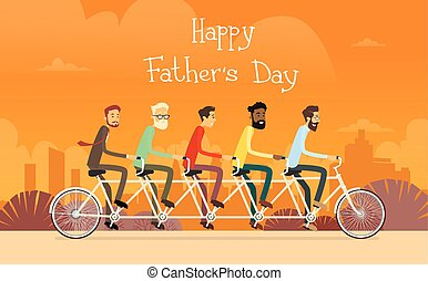 Día del padre, grupo de hombres en bicicleta tándem