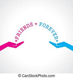 día, feliz, tarjeta, amistad, saludo