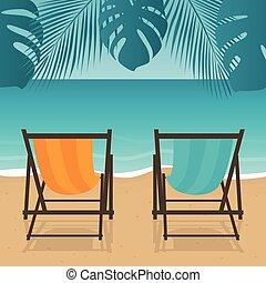 día feriado de playa, sillas, cubierta, dos, verano, palma