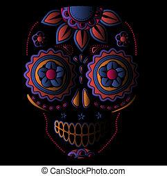 día, muerto, cráneo, azúcar