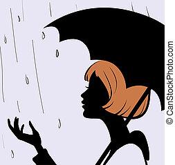 día, niña, negro, joven, cara, lluvioso, paraguas, silueta, hermoso