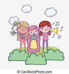 día, niños, childrens, trompetas, feliz, cinta musical, micrófono