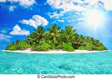 día, tropical, dentro, atolón, verano, océano, isla, entero
