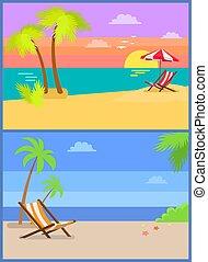 Día y noche en el paraíso de verano de la isla tropical
