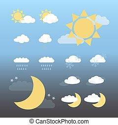 Día y noche iconos del clima