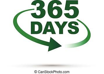 días, 365, año, reloj, alrededor