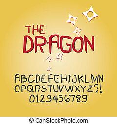 dígito, alfabeto, resumen, vector, garabato, agudo