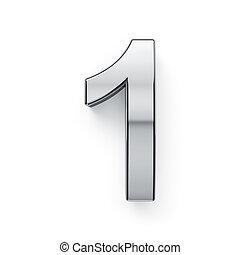 dígito, render, -, 1, metalic, simbol, 3d