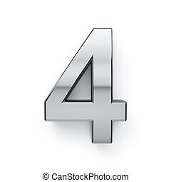 dígito, render, -, cuatro, metalic, 4, simbol, 3d