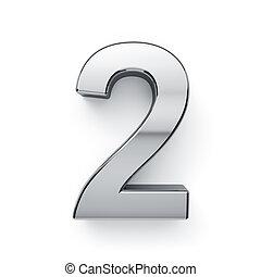 dígito, render, -, metalic, 2, simbol, 3d