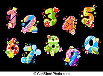 dígitos, niños, colorido, números