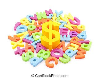 dólar, colorido, símbolo, cartas