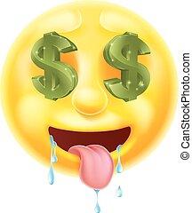 dólar, ojos, señal, emoticon, emoji