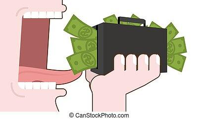 dólares., boca, teeth., dinero., maleta, hombre, lengua, comida, presupuesto, efectivo., eliminación, abierto, consumo, destrucción