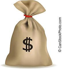 dólares., bolsa dinero, vector.