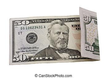 dólares, cincuenta