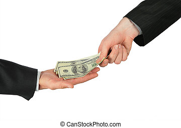 dólares, uno, otro, lugares, mano