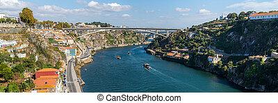 d., henry, infante, rive, vila, entre, portugal., nova, porto, encima, príncipe, o, de, ciudades, ponte, henrique, gaia, douro, puente